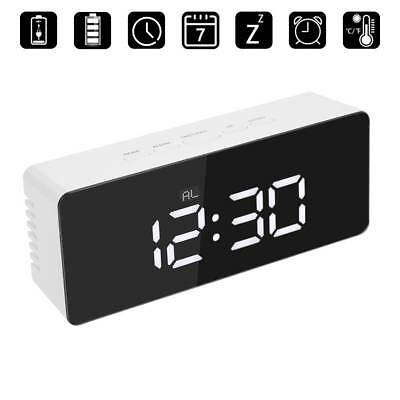 Mirror Digital LED Display Desk Table Clock Temperature Alarm Modern Home Decor