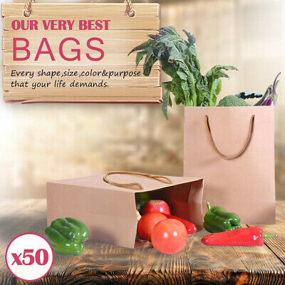 50 x Kraft Brown Paper Carry Bags Gift Carry Shopping Bags Bulk Handles 6 Size
