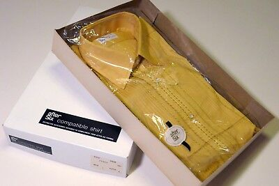 AFTER SIX YELLOW TUXEDO SHIRT VINTAGE 1970s RUFFLED EMBROIDERED NEW 15.5 / 33