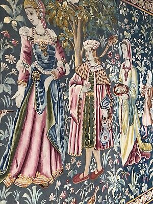Auth: 19th  C Antique Gothic Revival Aubusson Tapestry 6x7.6 Wool & Silk Beauty