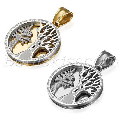 Men's Charm Tree of Life Pendant Stainless Steel Round Tag Necklace With Chain