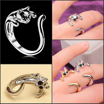 Women Vintage Retro Lovely Cat-shaped Finger Ring With Crystal Eyes Colorful
