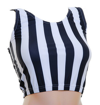 Ladies Crop Top Black&White Stripe Lycra - SALE