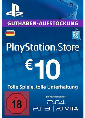 DE €10 PLAYSTATION NETWORK Prepaid Card 10 EUR PSN Karte Key PS3 PS4 PSP Code