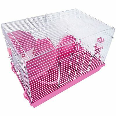 Pink Hamster Cage Pet Animal Home Feeding Habitat Portable House Indoor Home New