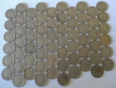 (63) Buffalo Nickel Coin LOT Five Cent Coins Indian Head U.S. 5c Mixed Dates