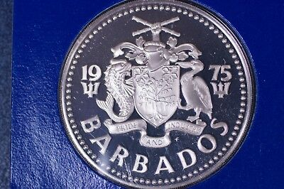 Large 40mm 1975 BARBADOS .800 Fine SILVER $5 PROOF, Still In Mint Packaging
