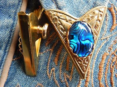 New Handcrafted Blue Abalone Collar Tips Gold Metal,goth,western,cowboy