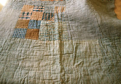 Antique Primitive Americana Blue Brown Homespun Fabric Lg Patchwork Quilt Pc. #1