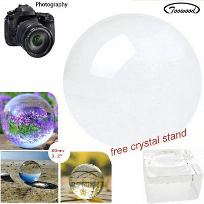 Clear Glass Crystal Ball  80mm Lensball Healing Sphere Prop Decor Photography