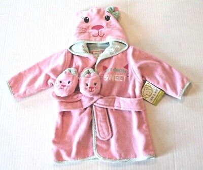 Okie Dokie Baby Girl Pink Kitty Cat Bath Robe & Slippers Set Infant 0-9 Months