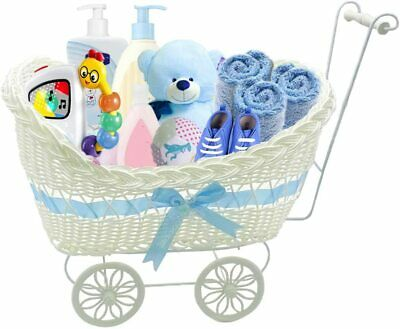 Baby Pram Wicker Basket Hamper Shower Stroller Vintage Craft Gift