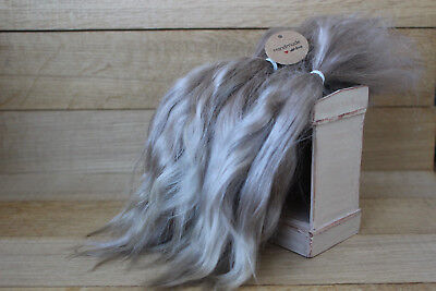 "Mohair Doll Hair Combed locks color gray 8-10"" in 10 gr organic mohair locks"