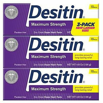 Desitin Maximum Strength Zinc Oxide, Diaper Rash Paste, 4.8 Ounce (Pack of 3)