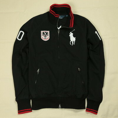 New Ralph Lauren Polo Black Track Jacket Men White Big Pony Deutschland Germany