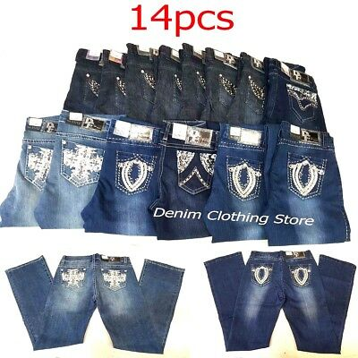 14pcs D-Fuz Dark Wash Premium Boot Cut Jeans Rhinestones Wholesale Lot Mix Size