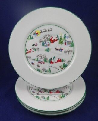 """4 Lenox Sleighride Christmas  8"""" Salad / Lunch / Small plate 8""""  Made in USA"""