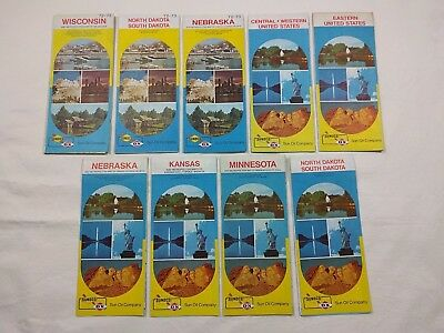 Vintage Sunoco DX Sun Oil Map Lot of 9 Different - 1972 to 1975 WI ND SD MN KS +