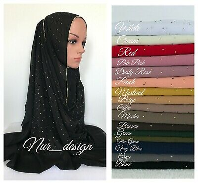 Beautiful Bubble Chiffon with Rhinestone border Scarf/Wrap/Hijab 180 x 65 cm