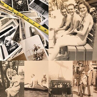 #5 100 + Old Photos Lot BW Vintage BLACK & WHITE Photographs Snapshots antique