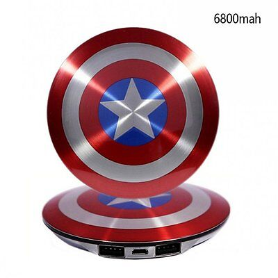 Hot Captain America Shield 6800mAh USB Power Bank Charger For iPhone Samsung HTC