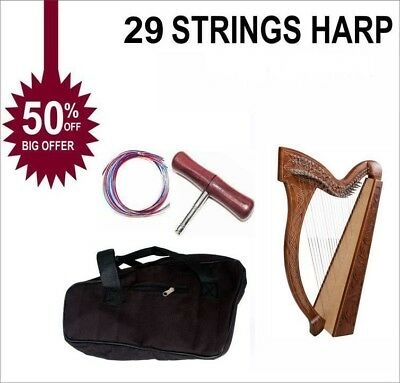 29 String Harp Celtic Harp Lever Harp Irish Harp With Deluxe Bag and Tunning Key