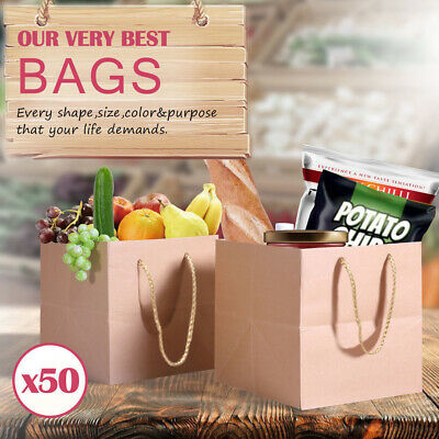 50 x Kraft Brown Paper Carry Bags Gift Carry Shopping Bags Bulk Handles 4 Size