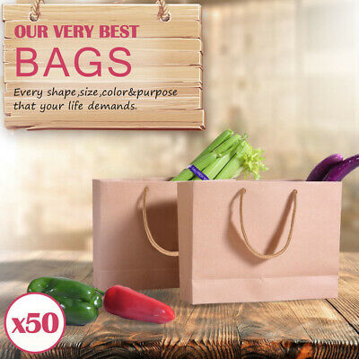 50 x Kraft Brown Paper Carry Bags Gift Carry Shopping Bags Bulk Handles 5 Size
