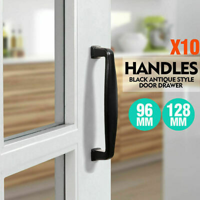 10x Black Kitchen Cabinet Door Drawer Handles Handle Pull 96 128 mm Knob Knobs
