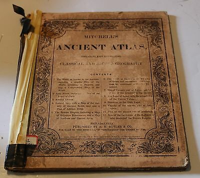 Antique Mitchell's Ancient Atlas Colored Classical Sacred Geography World Maps