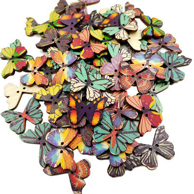 50pcs Mixed Random 2 Hole Butterfly Wood Wooden Buttons for Sewing Crafting