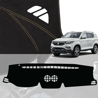 Black Leather Non Slip Dashboard Stitch Cover for SSANGYONG 2017 G4 Rexton
