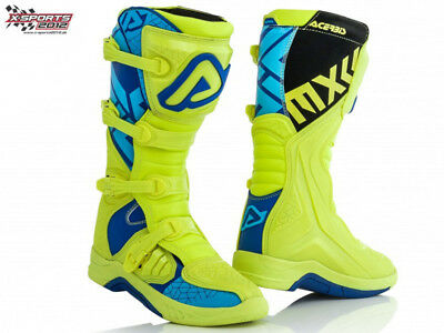 Acerbis X-Team Gelb Blau Motocross Stiefel Enduro MX Cross Quad Boots