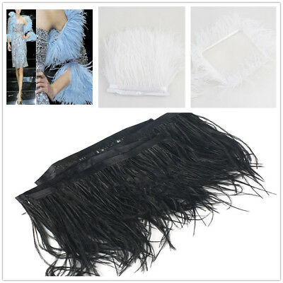 Black//White 1 Yard Ostrich Feather Dyed Fringe Trim for DIY Costume Hat Decor