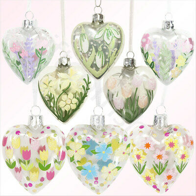 Gisela Graham Glass Heart Hanging Glass Decoration Vintage Floral Shabby Chic