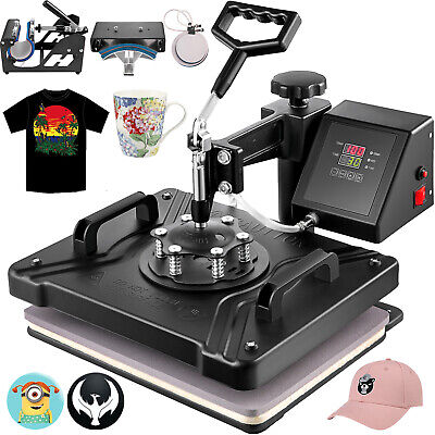 5In1 T-Shirt Heat Press Transfer Sublimation New Plate Cap Printer Swing Away
