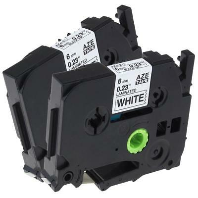 TZ-211 TZe-211 P-touch Label Tape Compatible for Brother Black on White 6mm 2pk