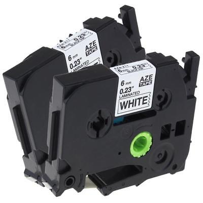 TZ-211 TZe-211 P-touch Label Tape Compatible with Brother Black on White 6mm 2pk