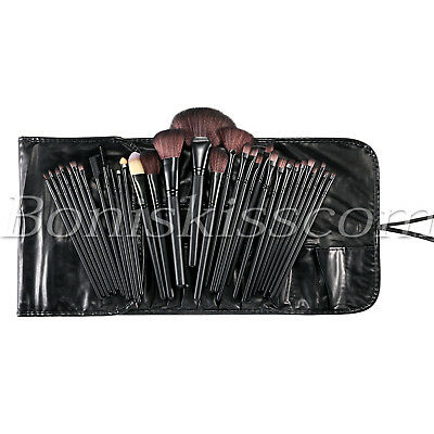 32pcs Pro Cosmetic Eyebrow Shadow Soft Makeup Brush Tool Set Kit + Leather Bag