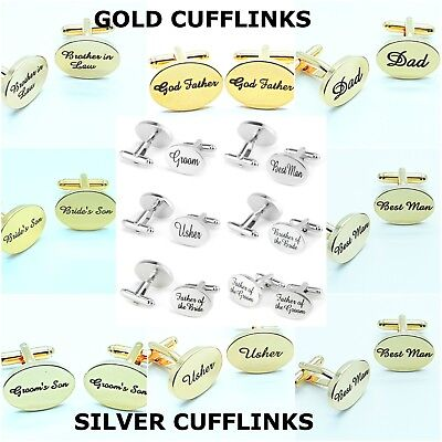 Wedding CuffLinks Role Set Best Man Groom Father of the Bride Usher DAD Silver