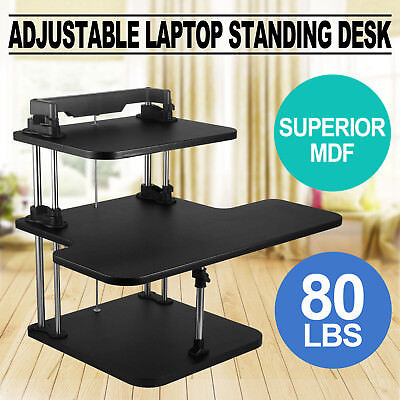 3 Tier Adjustable Computer Standing Desk Portable Double Poles Stand Up ON SALE