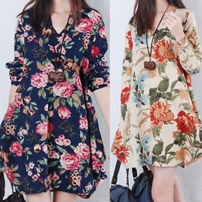 Women's Pregnant Floral Linen Maternity Long Sleeve V-Neck Loose Casual Dress US