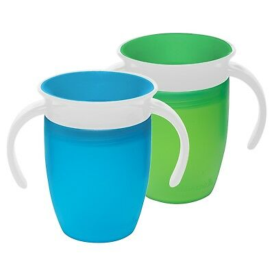 Miracle 360 Trainer Cup Green Blue Skippy Spill Proof Feeding 7 Ounce 2 Count