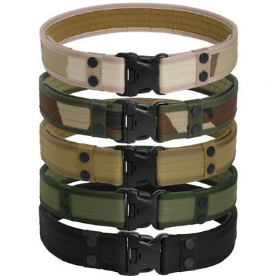 Tactical Army Military Canvas Buckle Belt Adjustable Combat Waistband Straps AU