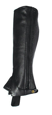 Rhinegold Horse Riding Half Chaps/gaiters Leather Black All Sizes