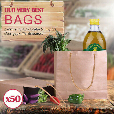 50 x Kraft Brown Paper Carry Bags Gift Carry Shopping Bags Bulk Handles 3 Size