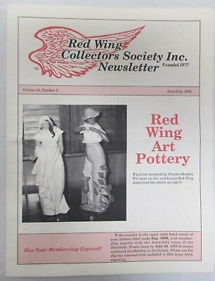 Red Wing Collectors Newsletter June July 1992 Art Pottery USA