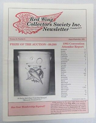 Red Wing Collectors Newsletter August September 1992 Salt Glaze Crock Mn USA