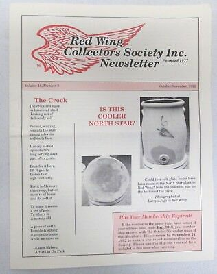 Red Wing Collectors Newsletter October November 1992 Salt Glaze Cooler USA
