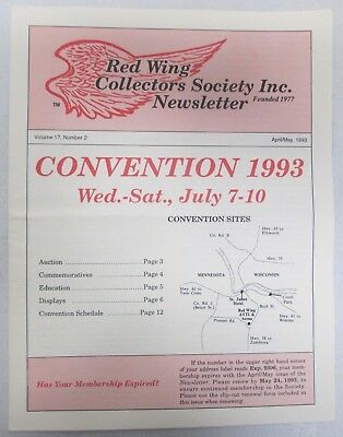 Red Wing Collectors Newsletter April May 1993 Plus Convention Tickets